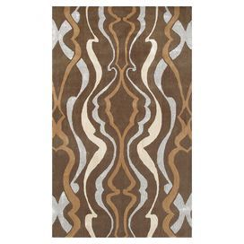Wool-blend rug with abstract motif.Product: RugConstruction Material: Wool and art silkColor: Brown, tan and creamNote: Please be aware that actual colors may vary from those shown on your screen. Accent rugs may also not show the entire pattern that the corresponding area rugs have. Cleaning and Care: Spot clean with mild soap and water. Professional rug cleaning recommended.