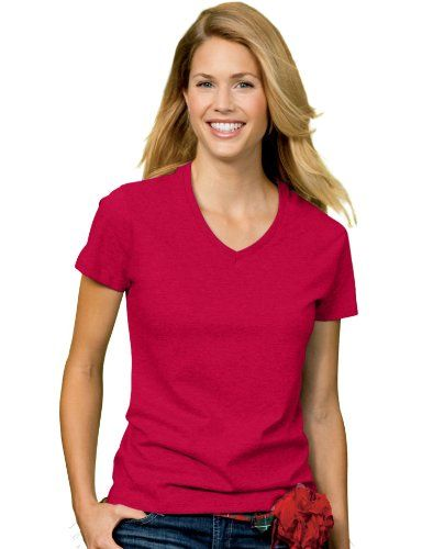 c191303f60 Hanes Relaxed Fit Women s ComfortSoft V-neck T-Shirt Size Medium Color Deep  Red -  4.65