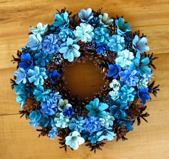 Handmade natural earthy shades of blue pine cone wreath by for Pine cone art projects