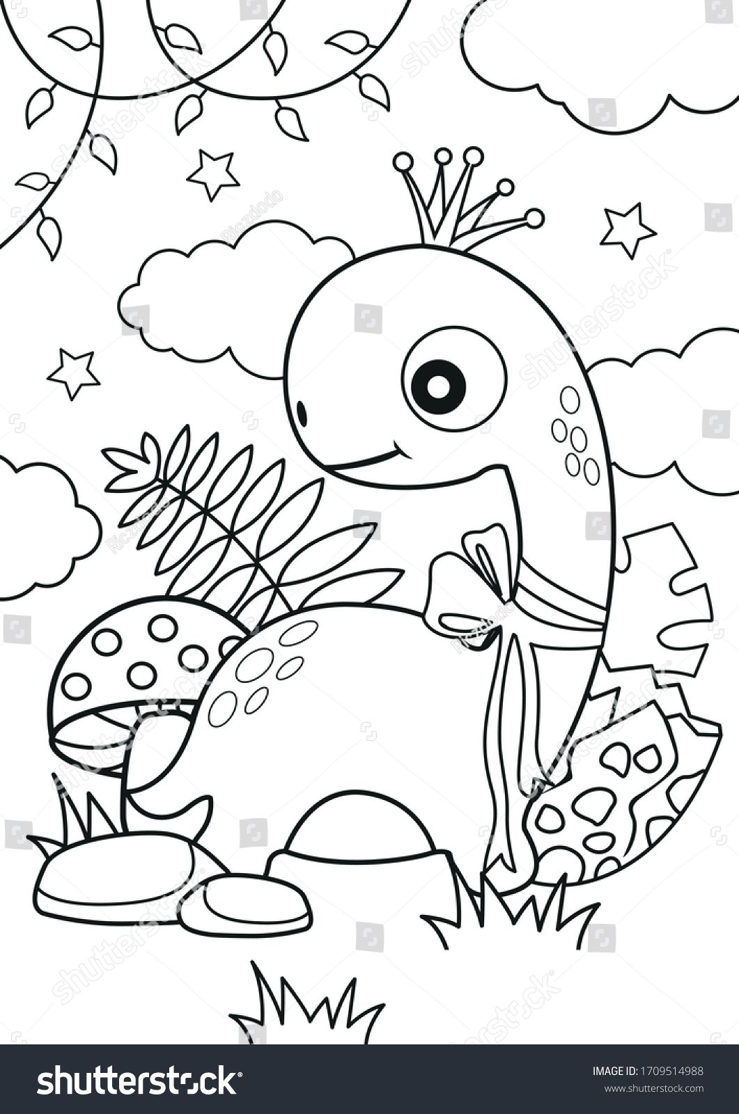 Shutterstock Illustration Art Vector Template Coloring Colouring Page Book Drawing Color Kids Child Activity Pencil Dinosaur Girl Cute Jungle Forest
