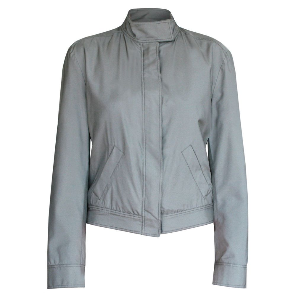 GUCCI gray zip-front moto collar silk polyurethane light biker jacket 42-IT/6-US #Gucci #Jacket