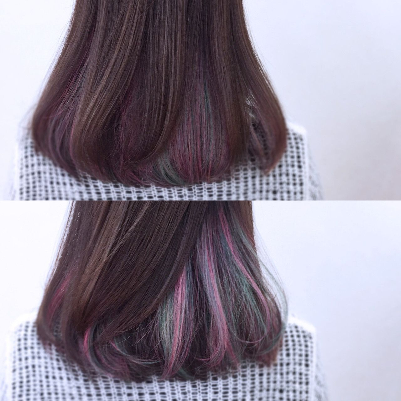 暗髪とインナーカラー オンブレヘア 染めた髪 ヘアスタイリング