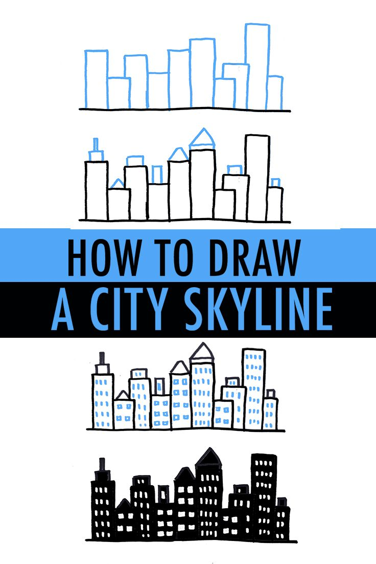 How To Draw A City Skyline 3 Ways Skyline Drawing Easy Drawings Simple Doodles