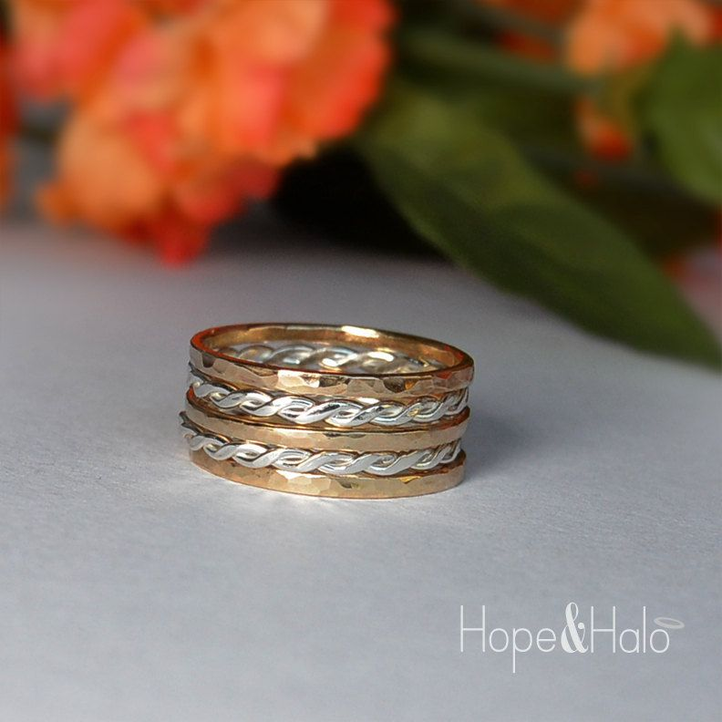 5 Stacking Rings in Sterling Silver & 12K Gold