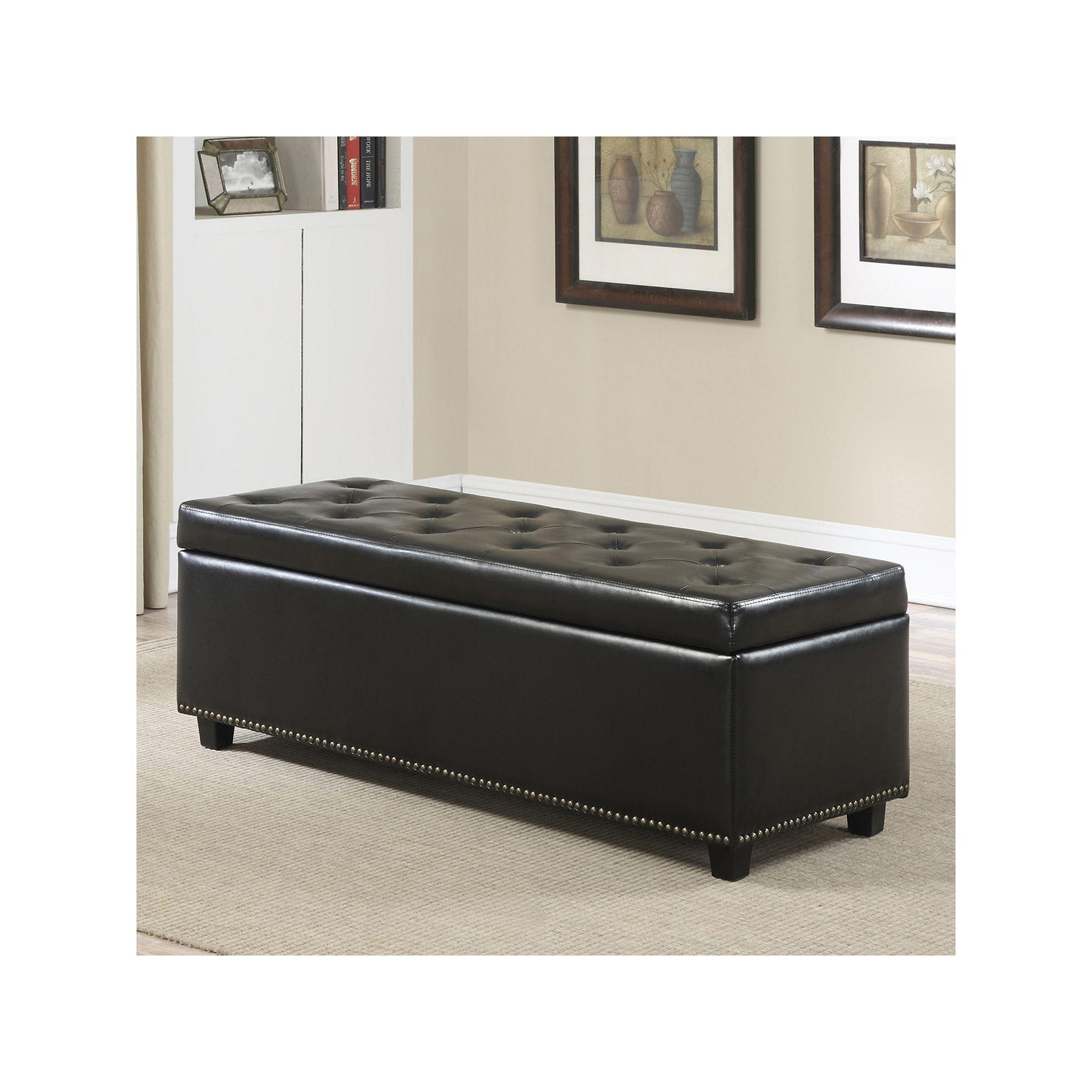 Simpli Home Hamilton Faux Leather Storage Bench, Black