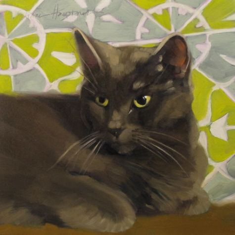 Cat Considers oil painting of gray cat, painting by artist Diane Hoeptner