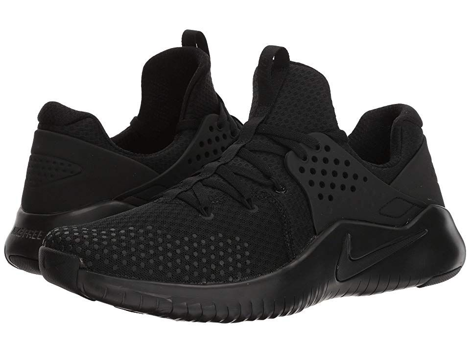 Nike Free Trainer V8 (Black/Black/Black) Men's Cross Training Shoes. Upgrade your gear for a barefoot-like training experience in the lightweight Nike Free Trainer V8. Haptic printing with 3D PU ink on upper creates a more durable wear during intense training. Bootie construction. Centralized lace-up closure with Flywire added to midfoot for a more a secure  adjustable fit. TPU wing integrates with laces for enhanced stability