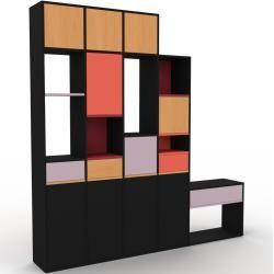 Photo of Wohnwand Schwarz – Individuelle Designer-Regalwand: Schubladen in Puderrosa & Türen in Schwarz – Hoc