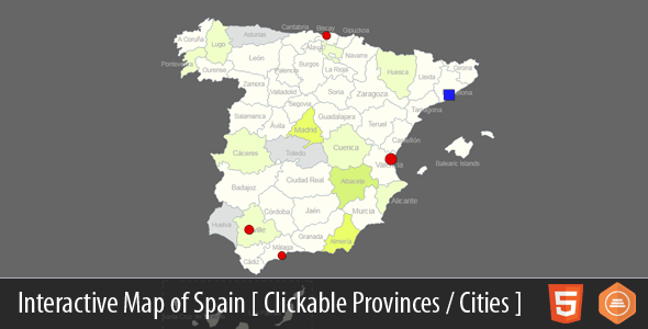 Interactive Map of Spain – HTML5 | WordPress | Map of spain ...