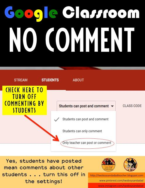 If you're going to use Google Classroom, one important tip: turn off student commenting! Very important if you have younger students who do not know how to use the comment section appropriately. Come find out more tips in my 2 part series on a 1:1 classroom.