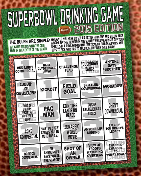 Superbowl 2015 Drinking Game Printable by NspireDesign on Etsy