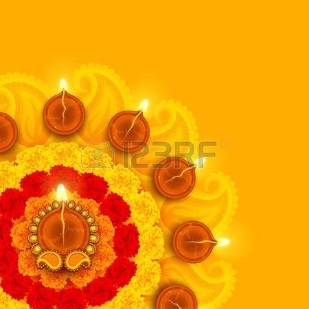 Illustration Of Decorated Diwali Diya On Flower Rangoli Diwali Greetings Happy Diwali Images Diwali Images