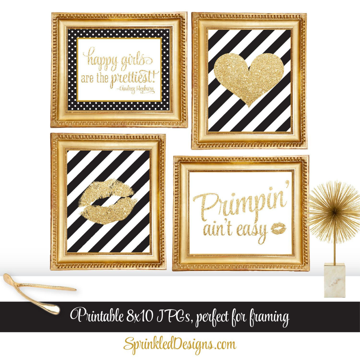 Gold Glitter Heart Black White Stripes Printable Girls Room