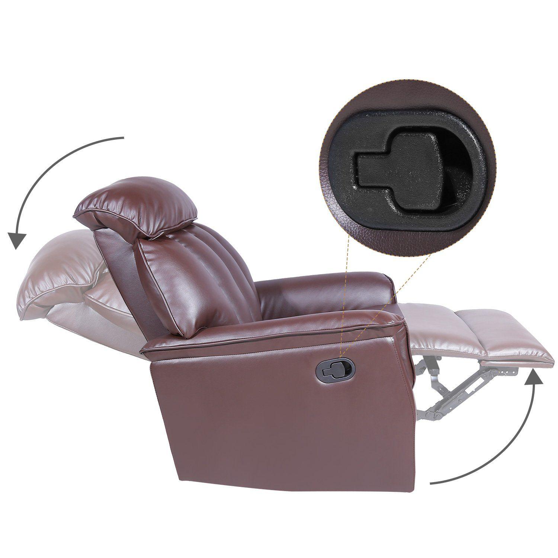 Harperandbright Designs Recliner Ergonomic Adjustable Recliner Sofa Chair With Pu Leather Brown Brown To Find Reclining Sofa Sofa Chair Recliner