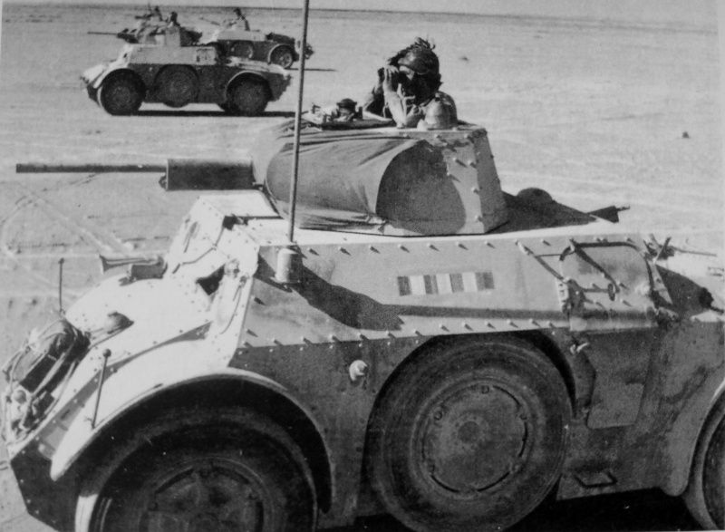 Italian Armored Vehicles AB 41 During A Raid South Of Sidi Barrani In Egypt WWII