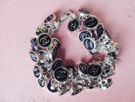 Chanel Inspired Black Monogram Button Chunky Xs Charm Bracelet By