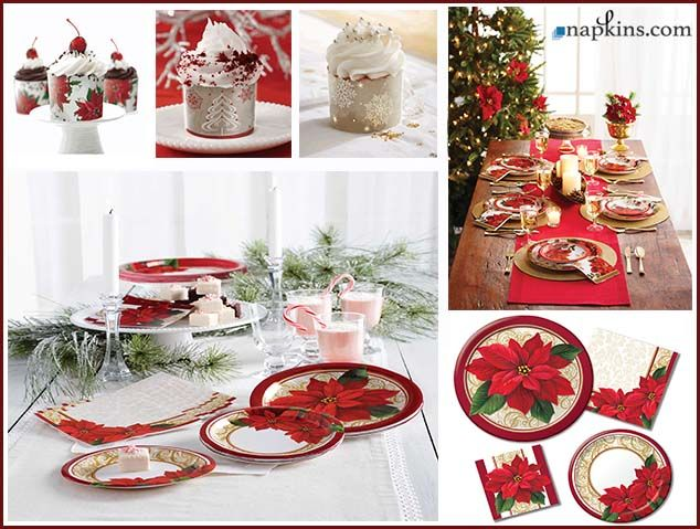 Throw The Best Christmas Party With Our Absolutely Beautiful Poinesttia Lace Chri Christmas Party Supplies Christmas Party Decorations Wholesale Party Supplies
