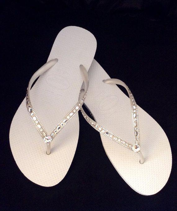 White Flip Flops Havaianas Slim Crystal