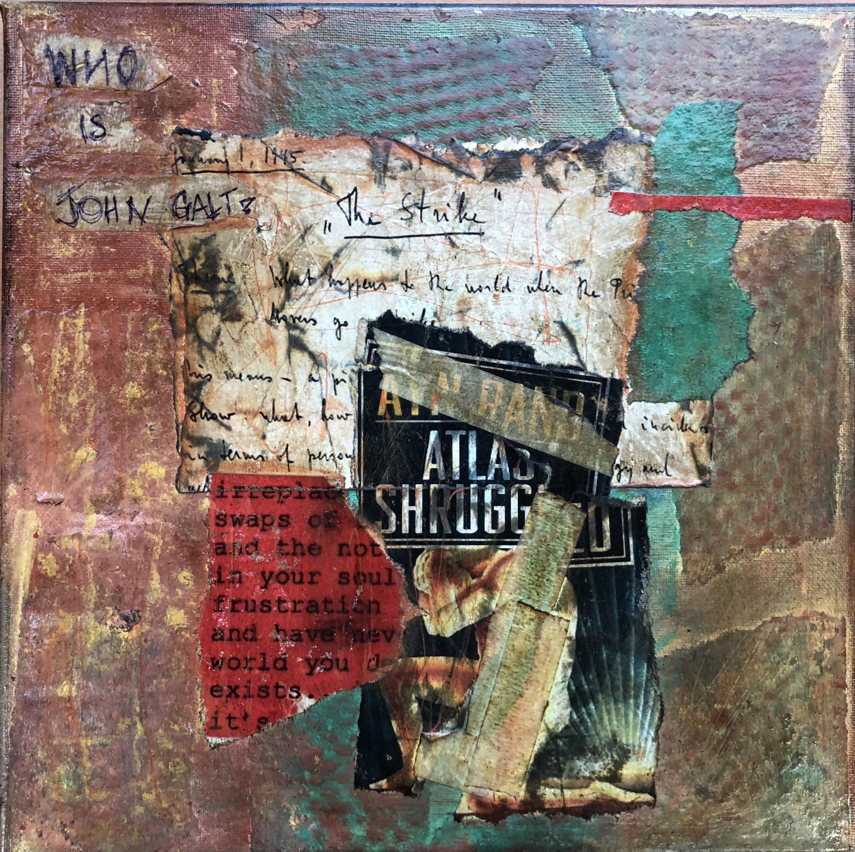 Mixed Media Canvas Inspired By The Novel Atlas Shrugged Architecture Collage Canvas Collage Mixed Media Canvas
