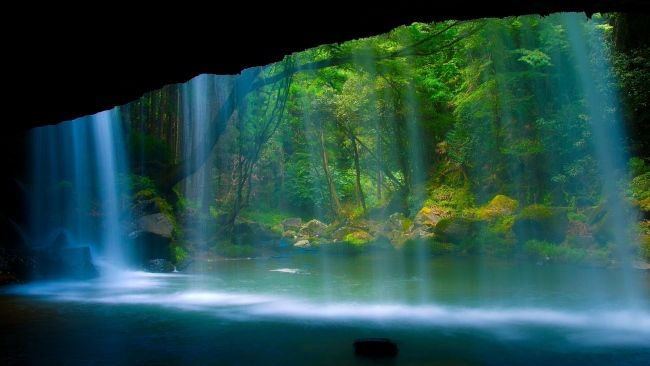 Download 1920x1080 Hd Wallpaper Waterfall Cave Light Forest Desktop Backgrounds Hd Beautiful Sites Waterfall Beautiful Waterfalls
