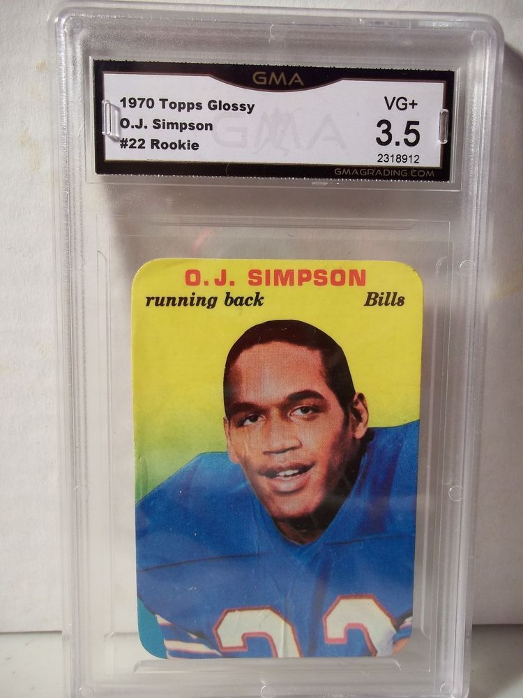 1970 Topps O J Simpson Rookie Gma Vg 35 Football Card 22