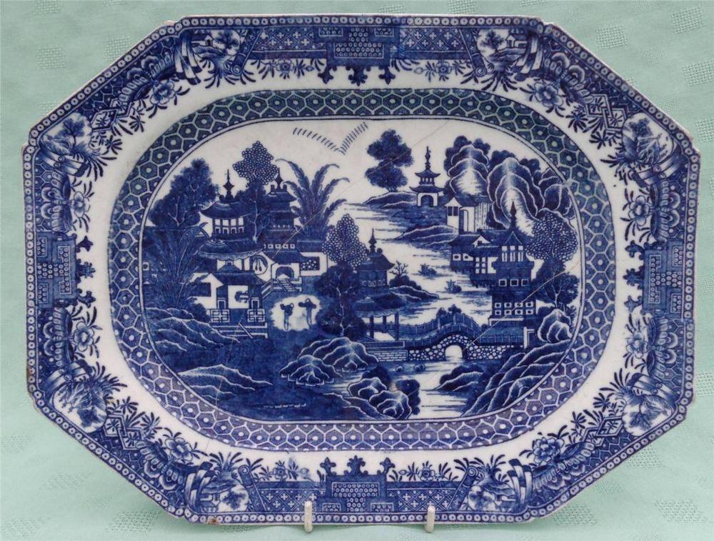 Antique Caughley Salopian Engraved Platter Meat Plate Full Nankin Pattern C1780 Antique Ceramics Antique Pottery Antique Plates
