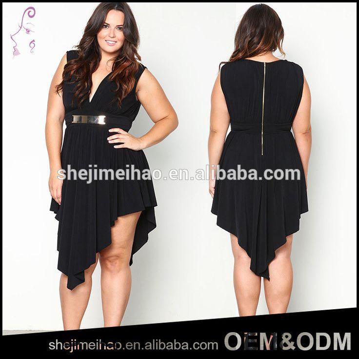 a884eddd8260 OEM Plus Size Black Color Open Breast Sexy V Neck irregular Short Front Long  Back Fashionable Dress for fat Women #fashion_dress, #short