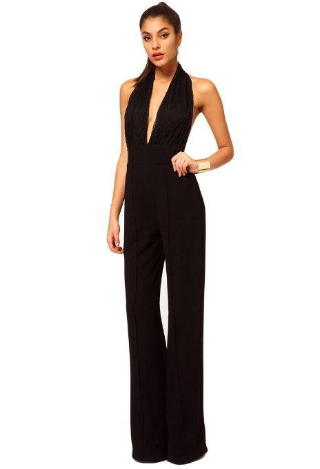 38d24d0f564 Amazon.com  Buluos Sexy Ball Laciness Patchwork Halter Low Cut Back Jumpsuit  for Women  Clothing