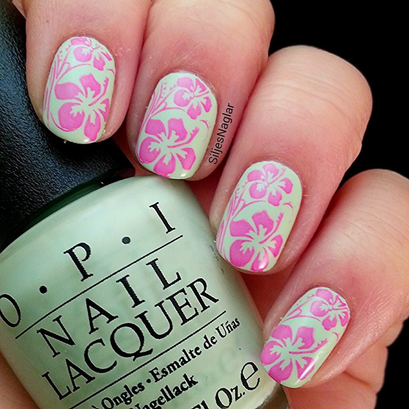 Hawaiian Hibiscus Flower Nail Art With Opi Thats Hula Rious And