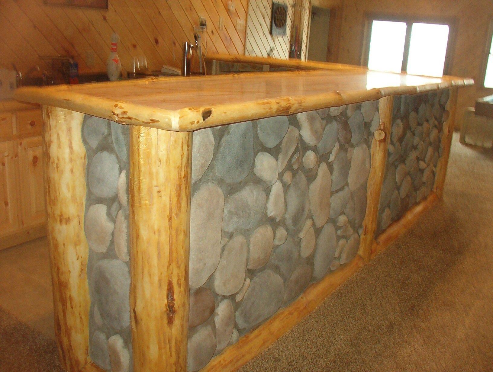 rustic log bar