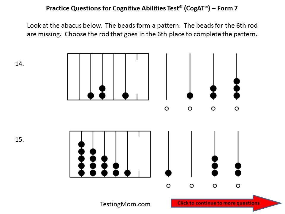 CogAT Form 7 practice question for Pre-K through Kindergarten ...