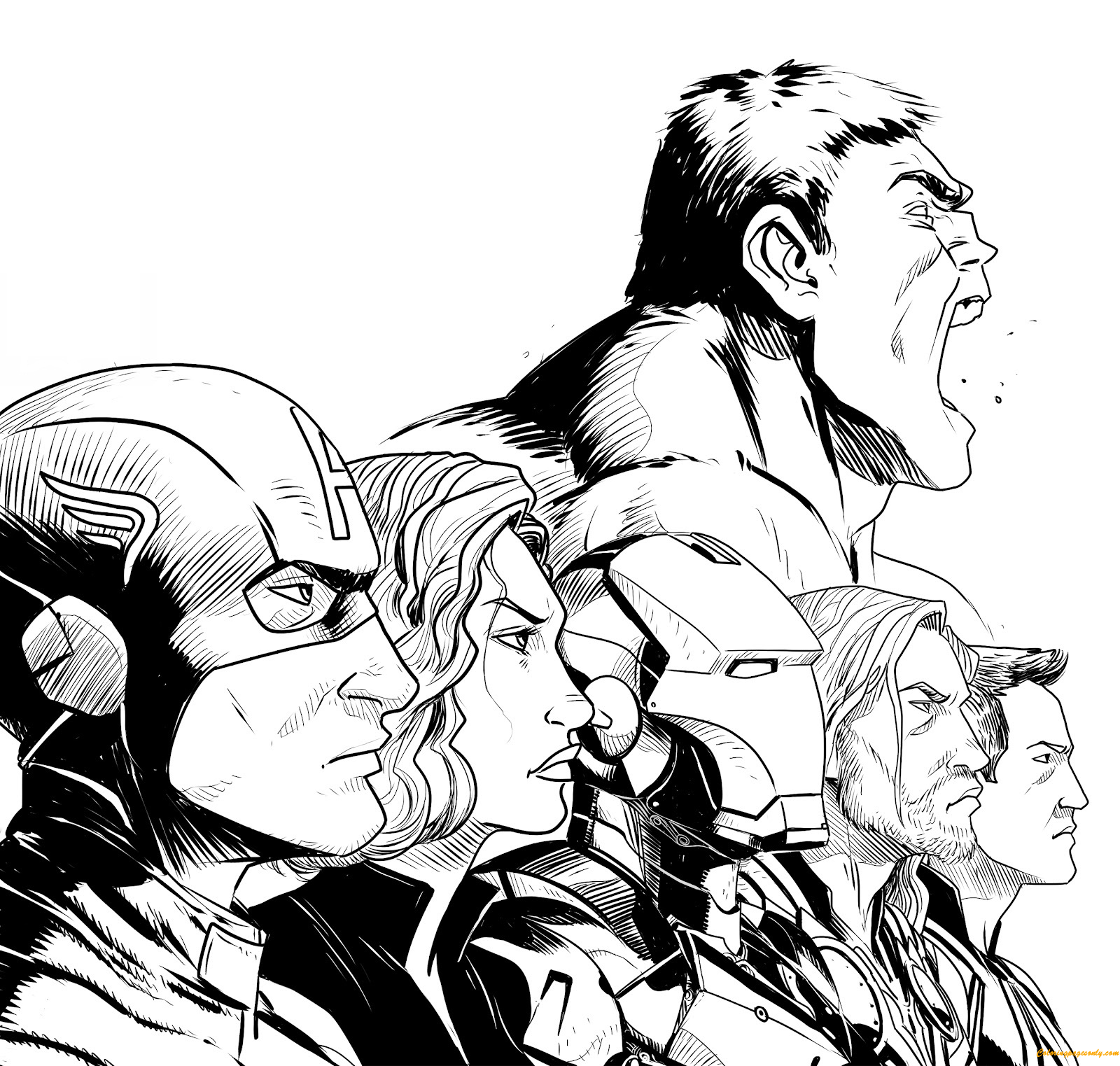 Six Members Of Avengers Coloring Page - Coloring Pages For Kids And ...