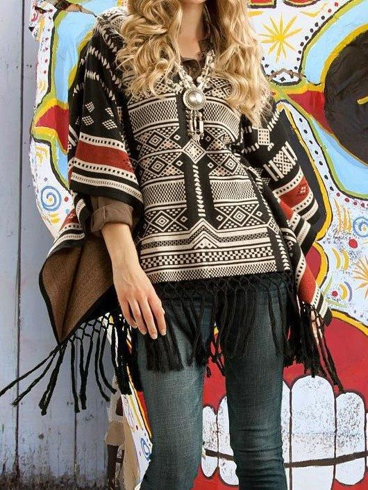 Women Boho Poncho Tassel Aztec Plus Size #aztec