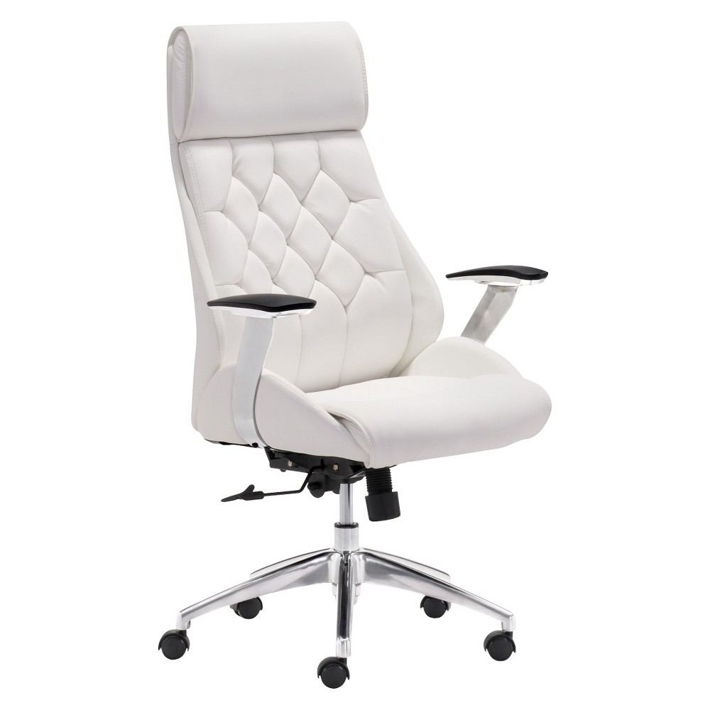 Modern Tufted Adjustable Office Chair White Zm Home Best