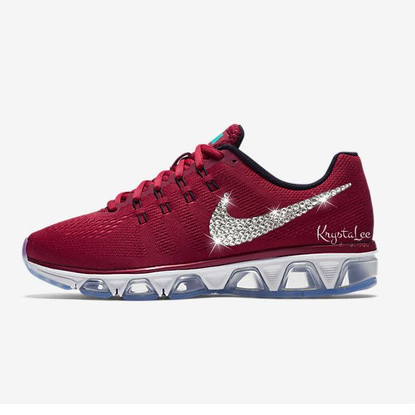 Womens Nike Air Max Tailwind 8 Maroon Custom Bling Crystal Swarovski  Sneakers bb4f14464