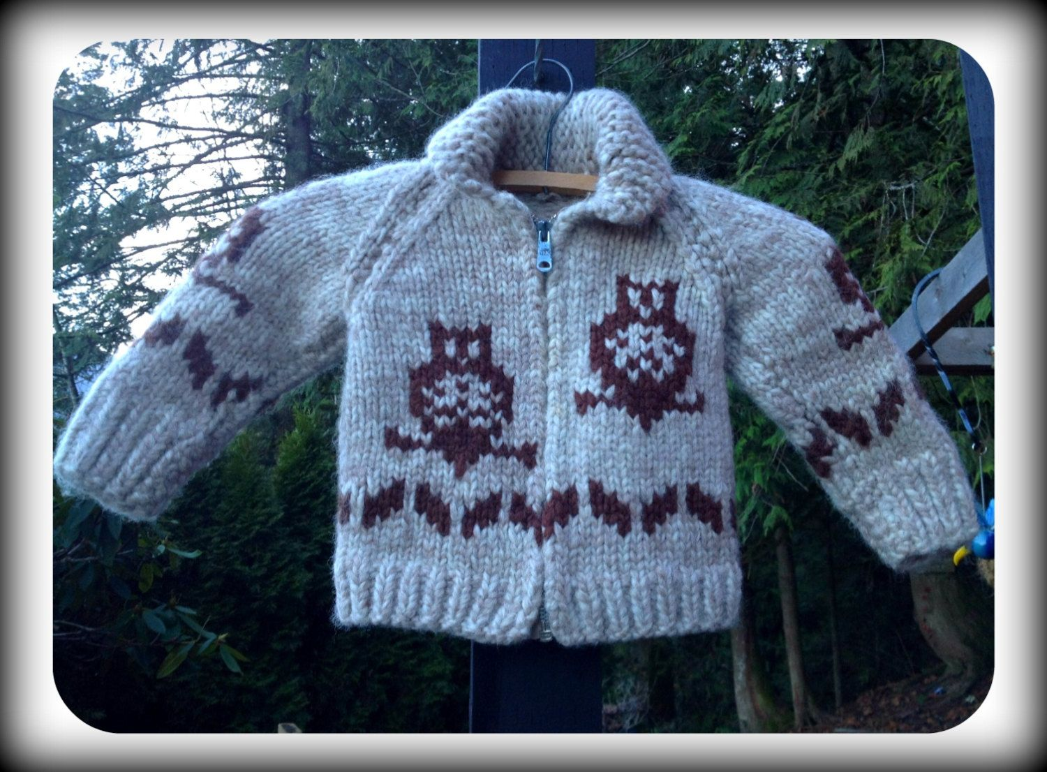 Groovy Owl Wool Cowichan Sweater For Baby Mary Maxim