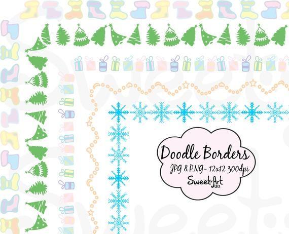 Christmas Doodle Border Clipart, Christmas Digital Border, Holiday