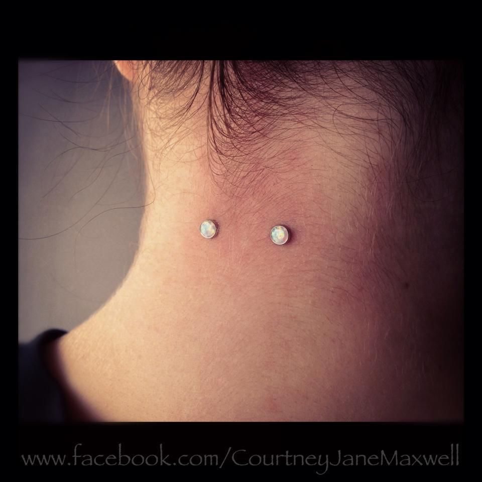Microdermal piercing ideas  Nape piercing g anatometal surface barbell with mm white opal