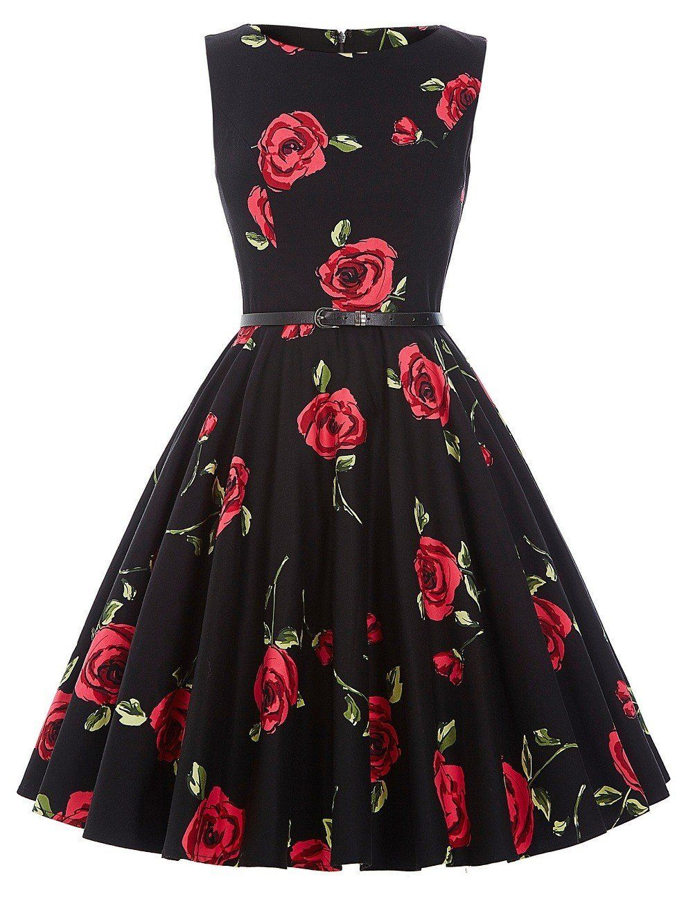 Cute vintage tea dress with belt boatneck sleeveless vintage