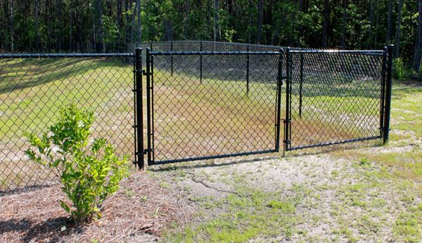 vinyl coated chain link fence and driveway gate | Fences, Gates ...