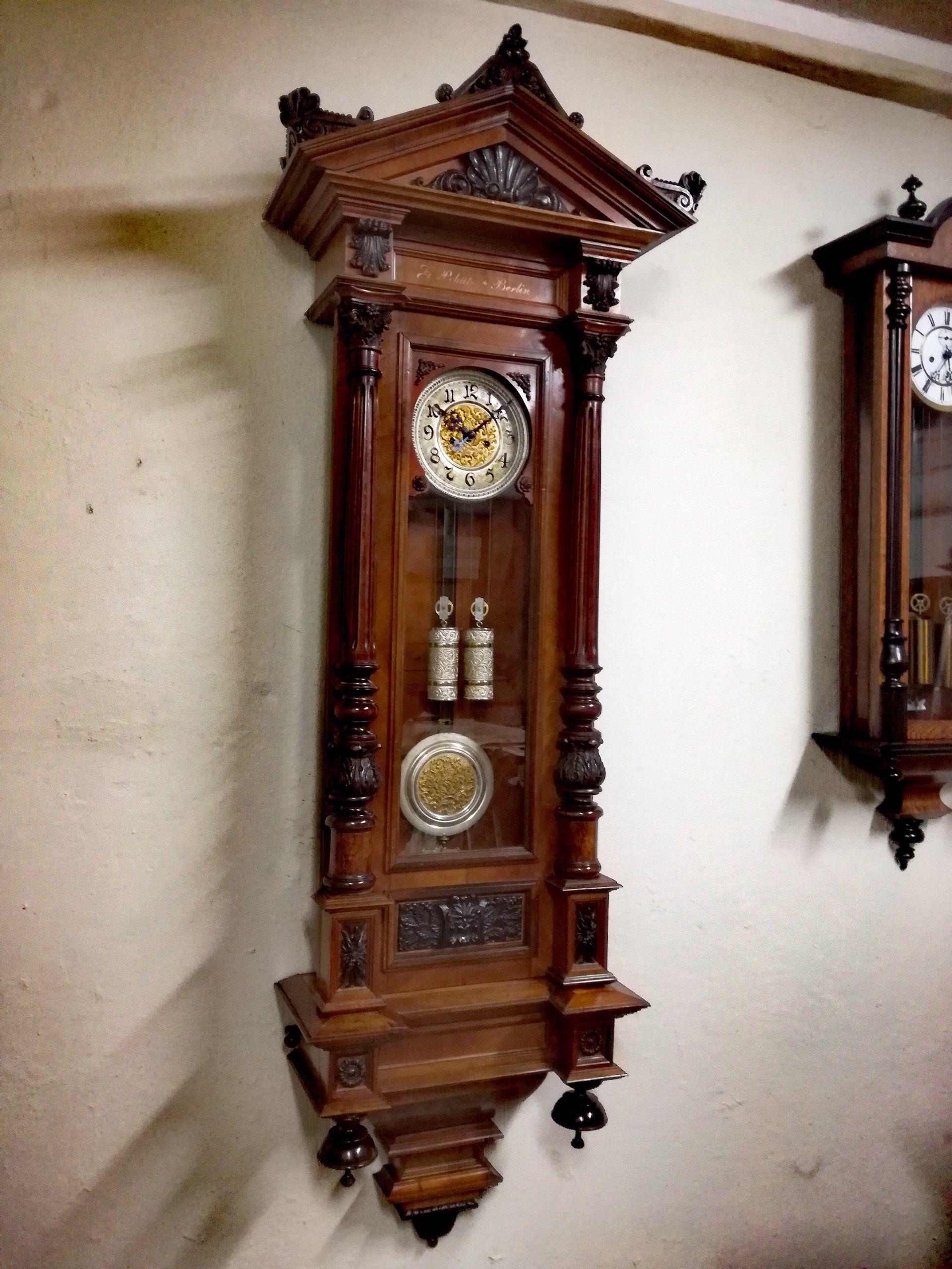 Imponujacy Zegar Wiszacy Wagowy Gustav Becker 165c Zegar Zegar Scienny Renowacja