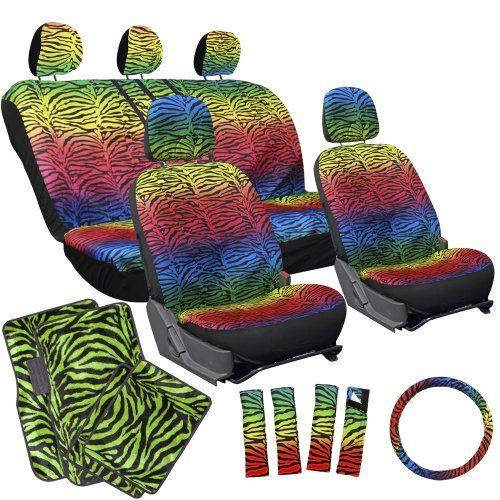 Oxgord 17pc Rainbow Zebra Seat Cover Set Lime Green Zebra Floor Mats Steering Wheel Cover And Belt Pads Car Seat Cover Sets Rainbow Zebra Bucket Seat Covers