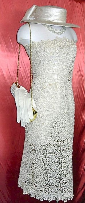 Authentic vintage wedding dress with hat, bag, gloves, and pearls