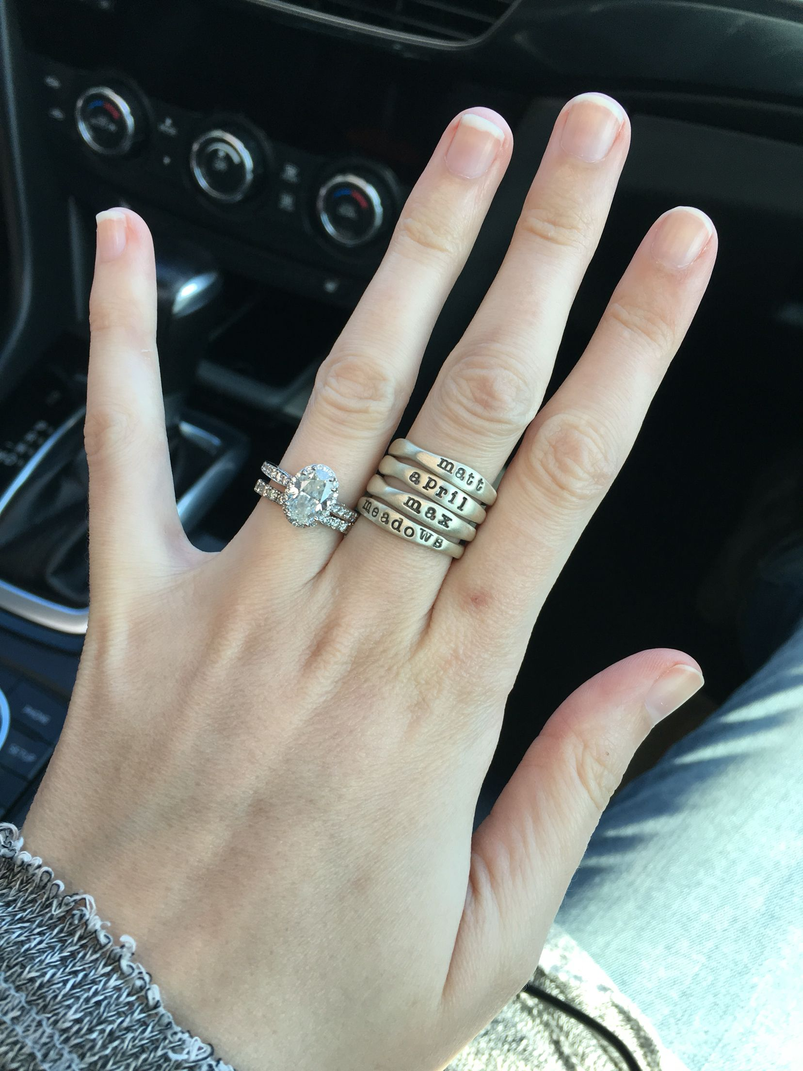 c28720148 Lisa Leonard stacking name rings ...4 just like hers: Bill, Ryan, Morgan,  Casey...my heart <3