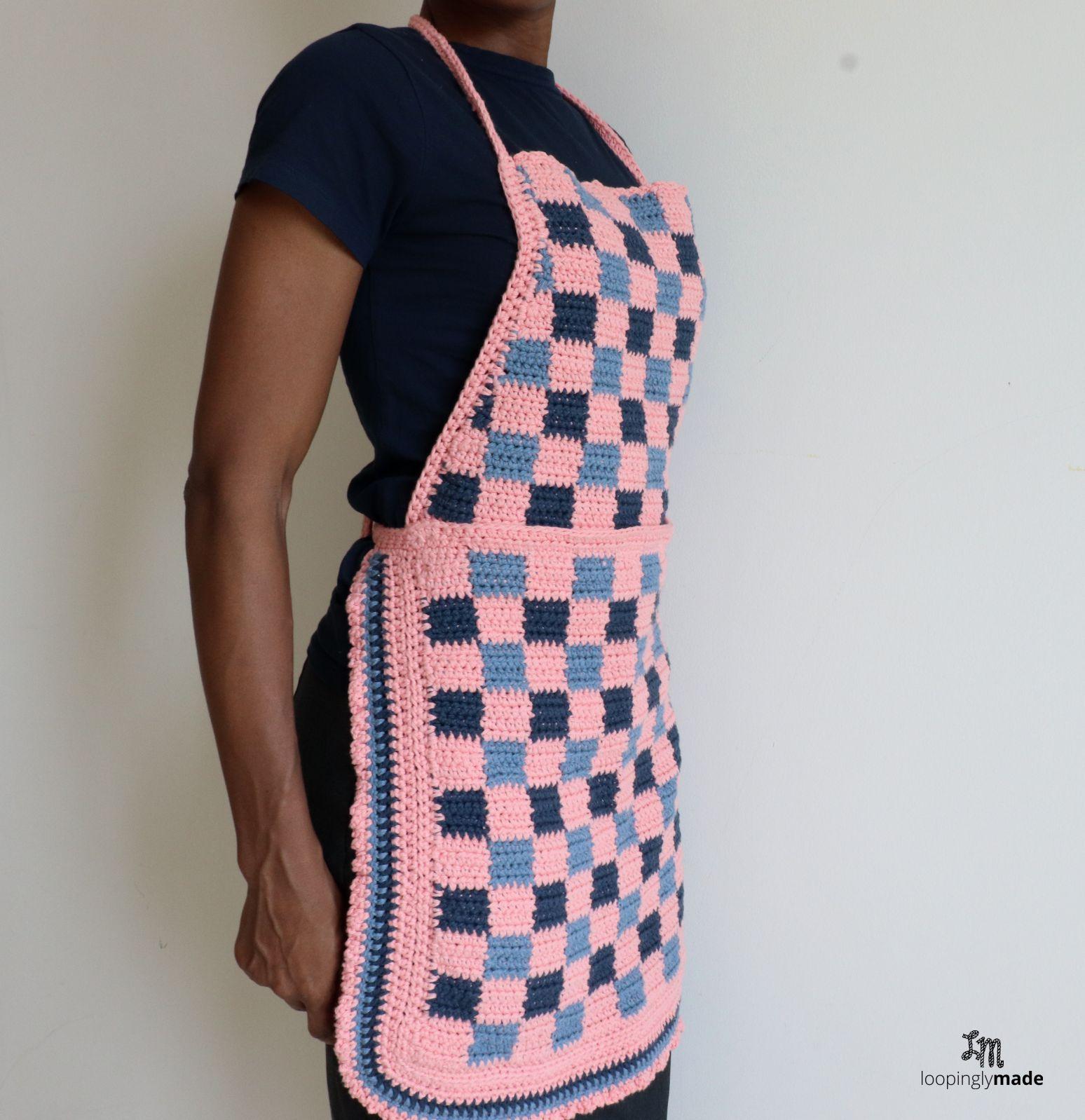 Crochet Checkered Two Piece Apron Free Crochet Pattern Apron