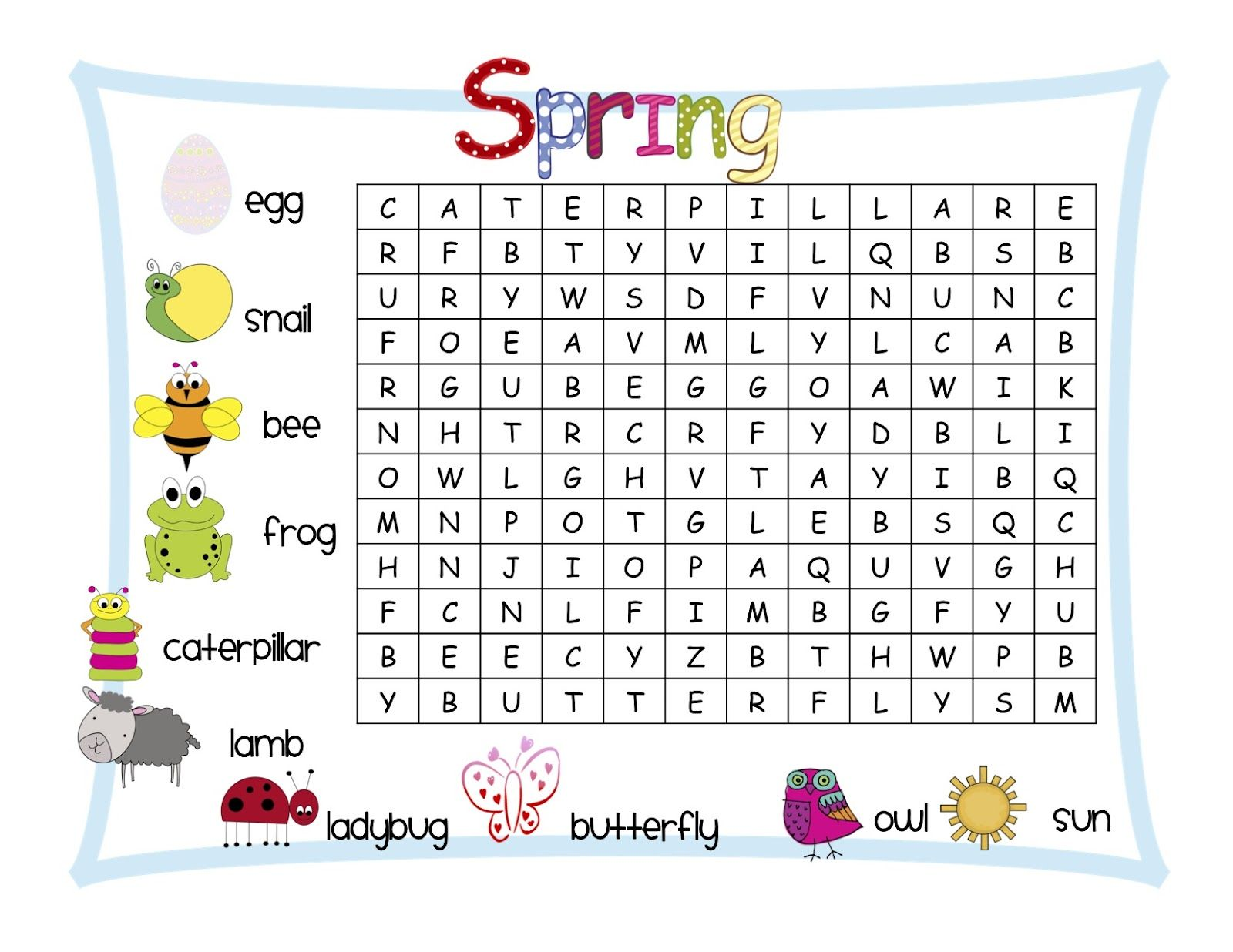 Classroom Freebies: Spring Word Search