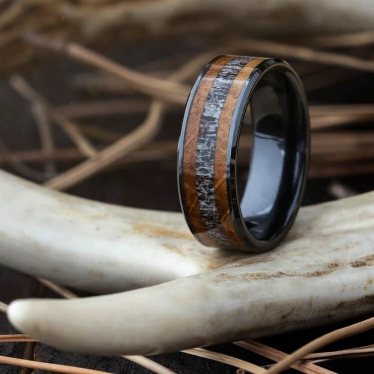 Deer Antler Wedding Band With Whiskey Barrel Oak In Black Ceramic 3764 In 2020 Antler Wedding Band Deer Antler Wedding Band Blue Wedding Rings