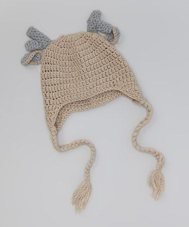85b7970e6a8d1 Oatmeal   Gray Reindeer Earflap Beanie  crochet  inspiration