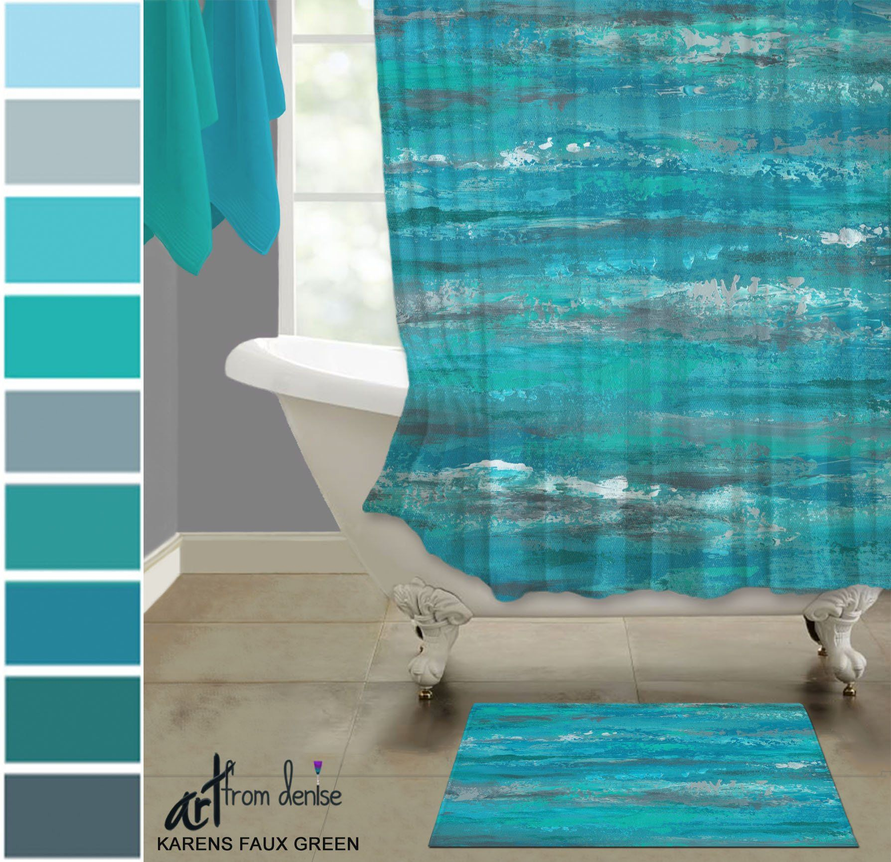 Aqua Gray And Teal Shower Curtain Bath Mat Sets Modern Abstract