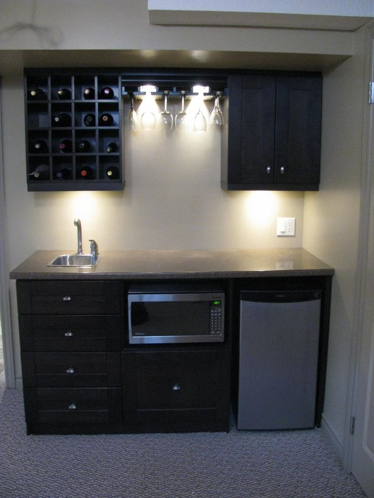 Cozy Wet Bar Ideas For Basement And Man Cave: Small Basement Bar Ideas With  Wet Bar Cabinet And Wine Storage Also Wine Glasses Racks With Bar  Countertop ...